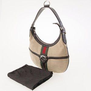 Gucci Vintage Reins Britt GG Logo Medallion Hobo